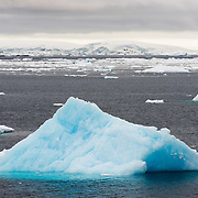 """A blue iceberg floats along calm waters of the Lemaire Channel. The Lemaire Channel is sometimes referred to as """"Kodak Gap"""" in a nod to its famously scenic views."""
