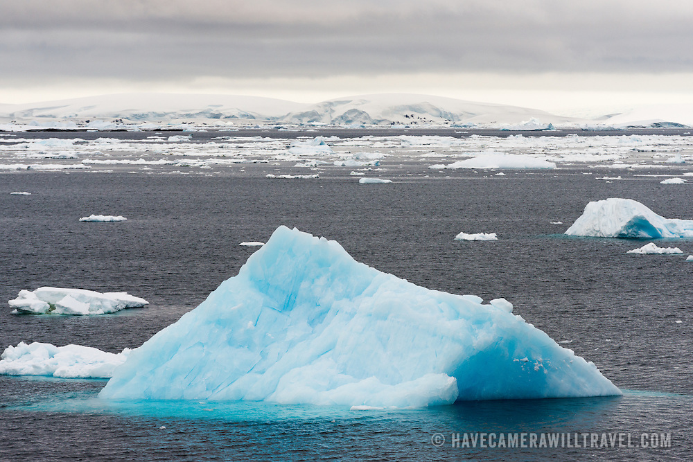 "A blue iceberg floats along calm waters of the Lemaire Channel. The Lemaire Channel is sometimes referred to as ""Kodak Gap"" in a nod to its famously scenic views."