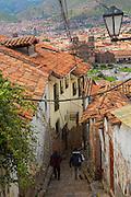 Narrow cobblestone street, Cusco, Urubamba Province, Peru