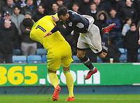 Football - 2017 / 2018 Sky Bet EFL Championship - Millwall vs. Nottingham Forest<br /> <br /> Nottingham forest goalkeeper, Costel Pantilimon clatters into Lee Gregory at The Den.<br /> <br /> COLORSPORT/ANDREW COWIE