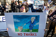 Pro Brexit demonstrators with Leave placards protest opposite Downing Street on the day the Prime Minister takes her draft Brexit deal to gain backing from her cabinet in Westminster on 14th November 2018 in London, England, United Kingdom.