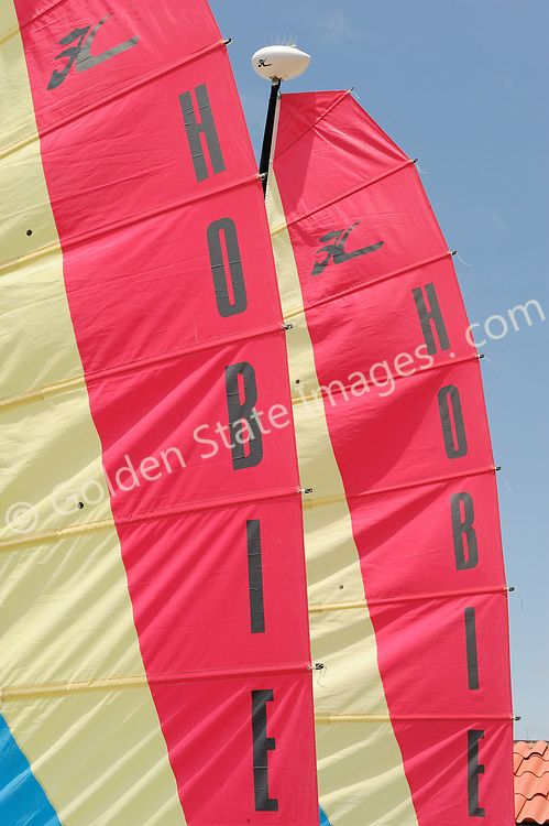 The sails of two Hobie Cats form a bright pattern.