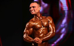 May 4, 2019 - Kathmandu, Nepal - A Male contestant poses in the final round of the 7th Mr Himalaya National bodybuilding championship. More than one hundred men and six women across the country participated in the body building championship. (Credit Image: © Archana Shrestha/Pacific Press via ZUMA Wire)