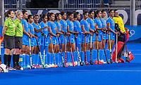 TOKIO -  Team India  tijdens de wedstrijd dames , Nederland-India (5-1) tijdens de Olympische Spelen   .   COPYRIGHT KOEN SUYK