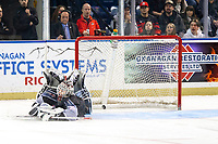 KELOWNA, BC - JANUARY 4: David Tendeck #30 of the Vancouver Giants misses a shoot out save on a shot by Matthew Wedman #20 of the Kelowna Rockets at Prospera Place on January 4, 2020 in Kelowna, Canada. (Photo by Marissa Baecker/Shoot the Breeze)