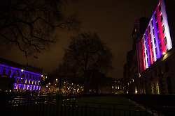 London, UK. 31 January, 2020. The Cabinet Office (l) and Ministry of Defence (r) buildings are illuminated on the evening of Brexit Day shortly before the UK leaves the European Union.