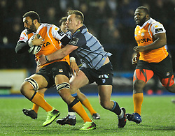 Cheetahs' Uzair Cassiemtacckled by Cardiff Blues' Matthew Rees<br /> <br /> Photographer Mike Jones/Replay Images<br /> <br /> Guinness PRO14 Round 14 - Cardiff Blues v Cheetahs - Saturday 10th February 2018 - Cardiff Arms Park - Cardiff<br /> <br /> World Copyright © Replay Images . All rights reserved. info@replayimages.co.uk - http://replayimages.co.uk
