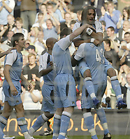 Photo: Aidan Ellis.<br /> Manchester City v West Ham United. The Barclays Premiership. 23/09/2006.<br /> City's Georguos Samaras leads the celebrations (top) after his goal