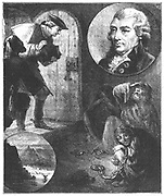 John Howard (1726-90) English prison reformer. From 1773 began campaign to improve awful conditions in English prisons. Published 'State if Prisons' in 1770. Howard visiting a prison and Howard portrait inset. Engraving 1880.