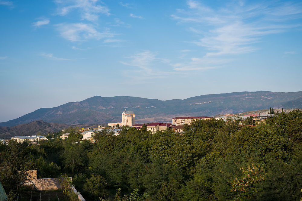 A view of the mountainous landscape in the city of Stepanakert, Nagorno-Karabakh. (September 21, 2016)