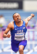 Aries Merritt (USA) dips for the line in his Semi Final of the Men's 60m Hurdles in a time of 7.60 during the final session of the IAAF World Indoor Championships at Arena Birmingham in Birmingham, United Kingdom on Saturday, Mar 2, 2018. (Steve Flynn/Image of Sport)