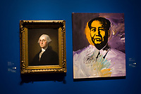 "George Washington by Gilbert Stuart and Mao by Andy Warhol, ""American Evolution"" exhibition, Corcoran Gallery of Art, Washington D.C., U.S.A."