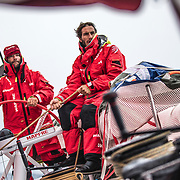 Leg 02, Lisbon to Cape Town, day 18, on board MAPFRE, Pablo Arrarte stearing, Blair Tuke holding the main sheet. Photo by Ugo Fonolla/Volvo Ocean Race. 22 November, 2017