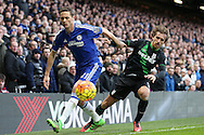 Nemanja Matic of Chelsea (l)  blocks the ball from Marc Muniesa of Stoke City.Barclays Premier league match, Chelsea v Stoke city at Stamford Bridge in London on Saturday 5th March 2016.<br /> pic by John Patrick Fletcher, Andrew Orchard sports photography.