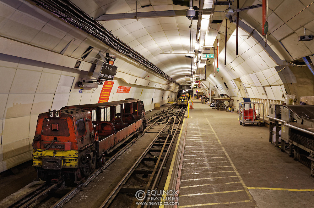London, United Kingdom - 3 February 2016<br /> PICTURE EXCLUSIVE - The disused Mail Rail underground rail lines and station pictured beneath Mount Pleasant sorting office. Work has commenced on The Postal Museum which will open in 2017 and be located next to Mount Pleasant sorting office in Clerkenwell, London, England, UK. Visitors to the museum will be able to ride on a train on the famous Mail Rail underground rail line. The underground Mail Rail was used for mail distribution to avoid road congestion until 2003 when the lines were closed. Among the supporters of The Postal Museum are Royal Mail, Post Office and the Heritage Lottery Fund.<br /> (photo by: HAUSARTS / EQUINOXFEATURES.COM)<br /> Picture Data:<br /> Photographer: Equinox Features<br /> Copyright: ©2016 Equinox Licensing Ltd. +448700 780000<br /> Contact: Equinox Features<br /> Date Taken: 20160203<br /> Time Taken: 18034136<br /> www.newspics.com