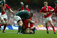 Wales v South Africa at the Millennium Stadium in Cardiff , November 2005. Duncan Jones of Wales is tackled by South Africa's John Smit.