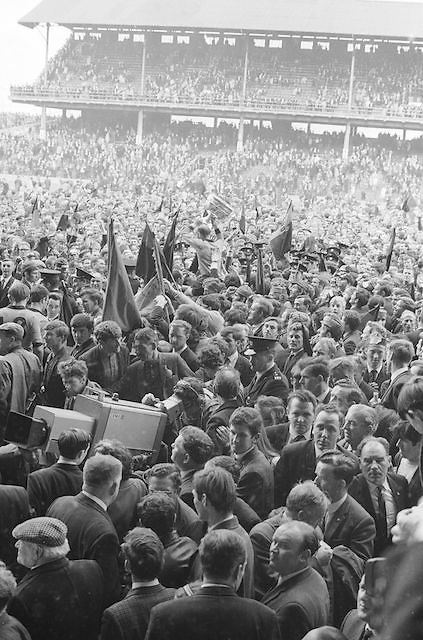 Down captain Joe Lennon is shouldered off the pitch by supporters after the All Ireland Senior Gaelic Football Final Kerry v Down in Croke Park on the 22nd September 1968. Down 2-12 Kerry 1-13.