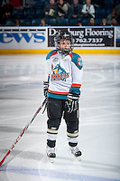 KELOWNA, CANADA - OCTOBER 23: The Pepsi Save On Foods player of the game stands on the ice at the Kelowna Rockets against the Prince George Cougars on October 23, 2015 at Prospera Place in Kelowna, British Columbia, Canada.  (Photo by Marissa Baecker/Shoot the Breeze)  *** Local Caption *** Pepsi Save On Foods Player;