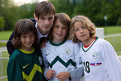 Milivoje Novakovic with young fans  at official presentation of Slovenian National Football team for World Cup 2010 South Africa, on May 21, 2010 in Congress Center Brdo at Kranj, Slovenia. (Photo by Vid Ponikvar / Sportida)