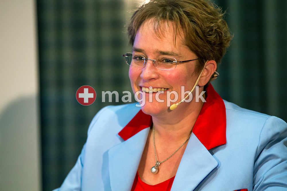 Magdalena Martullo-Blocher, chief executive officer (CEO) and vice-chairman of the board of directors of EMS-CHEMIE HOLDING AG, answers to questions during a press conference on the fourth quarter and full-year results 2014 in Zurich, Switzerland, Friday, February 6, 2015. The EMS Group, with its companies consolidated in the EMS-CHEMIE HOLDING AG is globally active in the business areas High Performance Polymers and Specialty Chemicals. In 2014, net sales increased by 4.6% and net operating income (EBIT) by 14.7% compared to the previous year. (Photo by Patrick B. Kraemer / MAGICPBK)