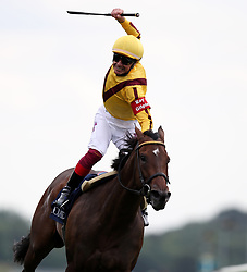 Frankie Dettori celebrates on Lady Aurelia prior to finding out he's only finished second in The Coolmore Nunthorpe Stakes during day three of the 2017 Yorkshire Ebor Festival at York Racecourse.