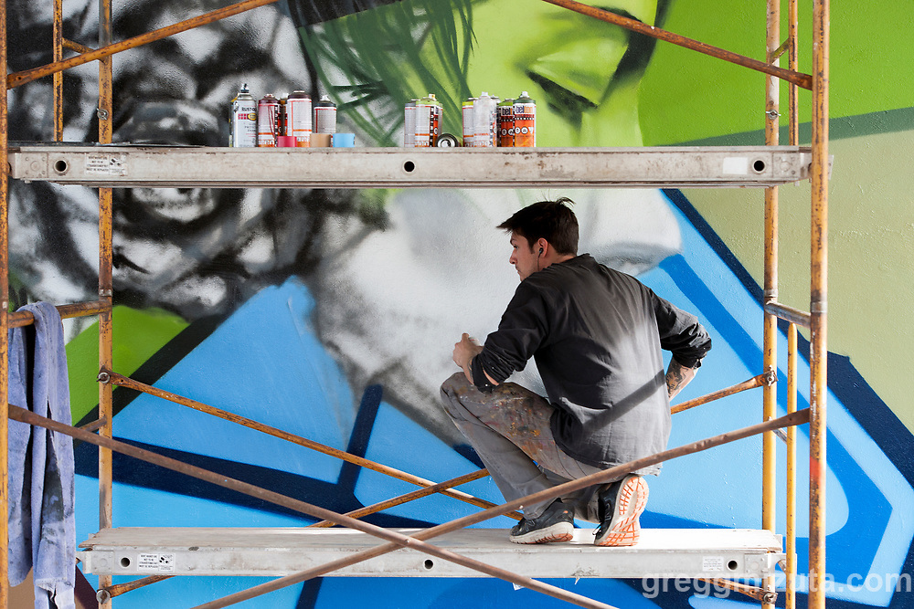 Sector Seventeen's Collin Pfeifer works on a mural at Rhodes Skate Park in Boise, Idaho on March 17, 2017.
