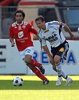 Fotball Tippeligaen 04.06.08 Rosenborg - ( RBK ) - Brann,<br /> Hassan El Fakiri, Brann og Roar Strand RBK,<br /> Foto: Carl-Erik Eriksson, Digitalsport