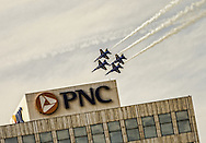 The Navy Blue Angels photographed at Progressive Field during the Cleveland National Air Show on September 1, 2014. Images © David Richard and may not be copied, posted, published or printed without permission.