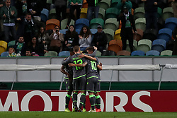 December 13, 2018 - Lisbon, Portugal - Sporting's forward Fredy Montero from Colombia celebrates with teammates after scoring during the UEFA Europa League Group E football match Sporting CP vs FC Vorskla Poltava at Alvalade stadium in Lisbon, Portugal on December 13, 2018 (Credit Image: © Pedro Fiuza/ZUMA Wire)