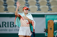 Sofia KENIN (USA) sheds tears, greeted supporters after winned the match during the Roland Garros 2020, Grand Slam tennis tournament, on October 5, 2020 at Roland Garros stadium in Paris, France - Photo Stephane Allaman / ProSportsImages / DPPI