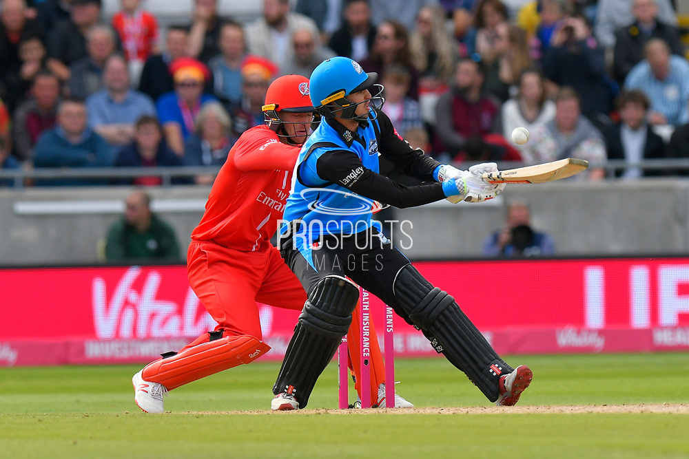 Ed Barnard of Worcestershire plays a ramp shot during the Vitality T20 Finals Day Semi Final 2018 match between Worcestershire Rapids and Lancashire Lightning at Edgbaston, Birmingham, United Kingdom on 15 September 2018.
