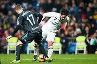Real Sociedad's midfielder David Zurutuza and Real Madrid's midfielder Isco Alarcon during the match of La Liga between Real Madrid and   Real Sociedad at Santiago Bernabeu Stadium in Madrid, Spain. January 29th 2017. (ALTERPHOTOS/Rodrigo Jimenez)