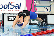 Great Britain's Georgia Davies starts in the 50m Backstroke during Day 13 of the 2016 LEN European Aquatics Championship Swimming Finals at the London Aquatics Centre, London, United Kingdom on 21 May 2016. Photo by Martin Cole.