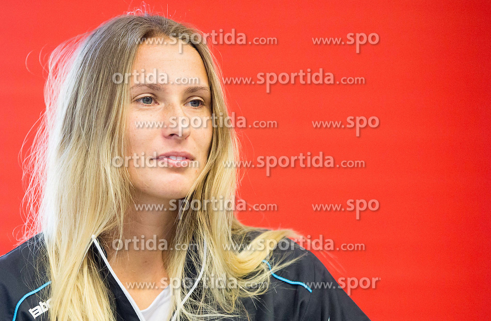 Polona Hercog during press conference of Slovenian women Tennis team before Fed Cup tournament in Tallinn, Estonia, on January 28, 2015 in Kristalna palaca, Ljubljana, Slovenia. Photo by Vid Ponikvar / Sportida