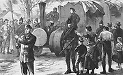 Irish Land League: In 1880 Parnell began campaign of social ostracism. Captain Boycott, agent for Lord Erne's Mayo estates, was one of the first victims.   Boycotted goods being given an armed guard to Thurles station, February 1885.