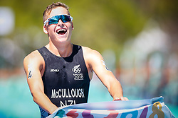 October 8, 2018 - Buenos Aires, Argentina - DYLAN McCULLOUGH, from New Zealand, celebrates winning the triathlon competition at the Buenos Aires 2018 Youth Olympic Games with a total time of 53:27, at the Parque Verde.(Credit Image: © Marcelo Machado De Melo/Fotoarena via ZUMA Press)