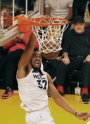 November 7, 2018 - Los Angeles, California, U.S - Karl-Anthony Towns #32 of the Minneapolis Timberwolves dunks the ball during their NBA game with the Los Angeles Lakers on Wednesday November 7, 2018 at the Staples Center in Los Angeles, California. Lakers defeat Timberwolves, 114-110. (Credit Image: © Prensa Internacional via ZUMA Wire)