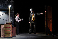 """Middletown, New York - The SUNY Orange Apprentice Players perform during a rehearsal of """"Lux in Tenebris""""  by Bertolt Brecht at Orange Hall Theatre on the College's Middletown campus on April 13, 2016."""