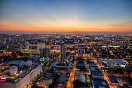 Aerial view of Miami looking west at twilight.
