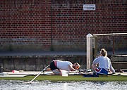 Henley-On-Thames, Berkshire, UK.,  3rd August 2020 Athletes, Crews boating from Leander Club for training,  [Mandatory Credit © Peter Spurrier/Intersport Images],  Crew make adjustments, Mixed Double Scull, , Training during, the  coronavirus (COVID-19), pandemic,