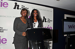 Left to right, DEE POKU and JUNE SARPONG at the annual WIE (Women: inspiration and enterprise) Awards held after the WIE Symposium... A day of inspirational talks by thought leaders and opinion formers to give young women the tools to succeed in business and life held at The Hospital Club, Endell Street, London on 8th March 2012.