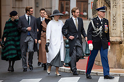 Tatiana Santo Domingo, Andrea Casiraghi, Princess Alexandra of Hanover, Pierre Casiraghi, Beatrice Borromeo, Louis Ducruet, Marie Chevallier are arriving to St Nicholas Cathedral before the solemn mass celebrated by the arcibishop Bernard Barsi, during the National Day ceremonies, Monaco Ville (Principality of Monaco), on November 19, 2019. Photo by Marco Piovanotto/ABACAPRESS.COM