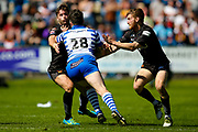 Bradford Bulls centre Ashley Gibson (23) is on the wrong end of a hand off from Jake Bibby during the Kingstone Press Championship match between Halifax RLFC and Bradford Bulls at the MBi Shay Stadium, Halifax, United Kingdom on 2 July 2017. Photo by Simon Davies.