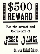 $500 reward notice posted by the St Louis Midland Railroad for the arrest and conviction of Jesse James.  Jesse Woodson James (1847-1882), American outlaw and bank and train robber who, with his brother Frank, was a member of the James-Younger gang.