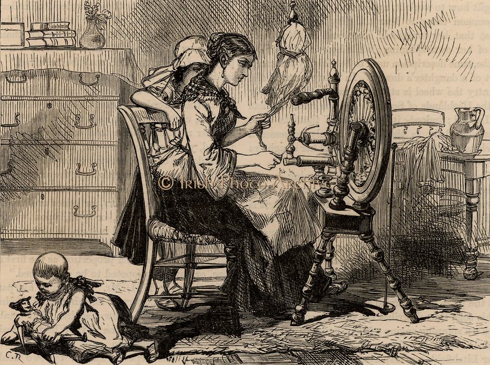 Female homeworker using a treadle spinning wheel. Before the building of large factories and the coming of mass production, spinning was done by women in their own homes.  Often the raw material to be spun was supplied by a middle man who collected the finished work and sold it on to weavers and factories.  From 'Great Industries of Great Britain' (London, c1880).  Engraving.