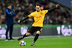 February 7, 2018 - London, United Kingdom - Robbie Willmott of Newport County puts in a cross during the FA Cup Fourth Round replay match between Tottenham Hotspur and Newport County at Wembley stadium, London, England on 10 Feb  2018. (Credit Image: © Kieran Galvin/NurPhoto via ZUMA Press)