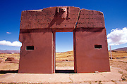 BOLIVIA, TIAHUANACO, AYMARA Gate of Sun with relief of Virachocha