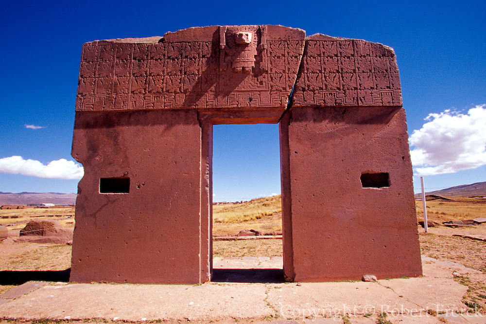 BOLIVIA, TIAHUANACO, AYMARA Gate of Sun with relief of Virachocha
