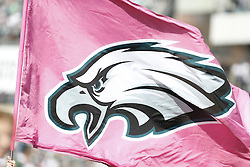 A pink Philadelphia Eagles flag is seen as part of the Tackling Breast Cancer theme during the NFL game between the Detroit Lions and the Philadelphia Eagles on Sunday, October 14th 2012 in Philadelphia. The Lions won 26-23 in Overtime. (Photo by Brian Garfinkel)