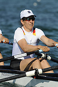 Munich, GERMANY,  GER W4X, Bow Britta OPPLET, Manula LUTZE, Juliane DOMSCHEIT and Kathrin BORON. At the start, during the FISA World Cup at the Munich Olympic Rowing Course, Thur's.  08.05.2008  [Mandatory Credit Peter Spurrier/ Intersport Images] Rowing Course, Olympic Regatta Rowing Course, Munich, GERMANY